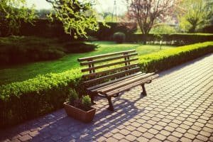 A bench in a garden on a paved path.